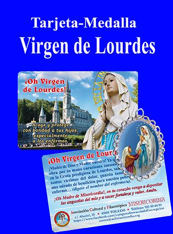 Medalla de Lourdes con tarjeta